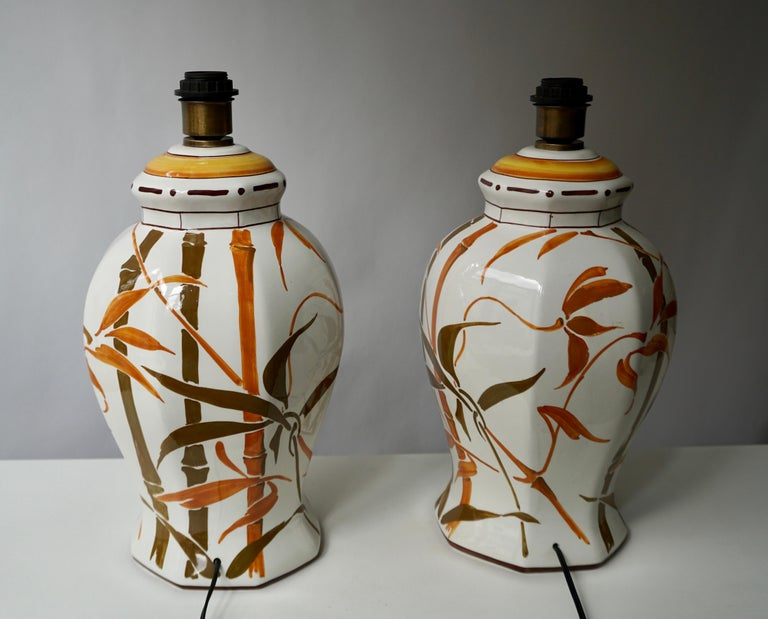 Set of Two Exceptional Mid-Century Modern Ceramic Bamboo Table Lamps, Italy For Sale 2