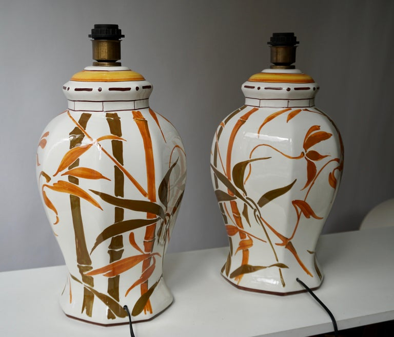 Set of Two Exceptional Mid-Century Modern Ceramic Bamboo Table Lamps, Italy For Sale 3