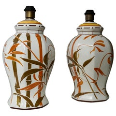 Set of Two Exceptional Mid-Century Modern Ceramic Bamboo Table Lamps, Italy