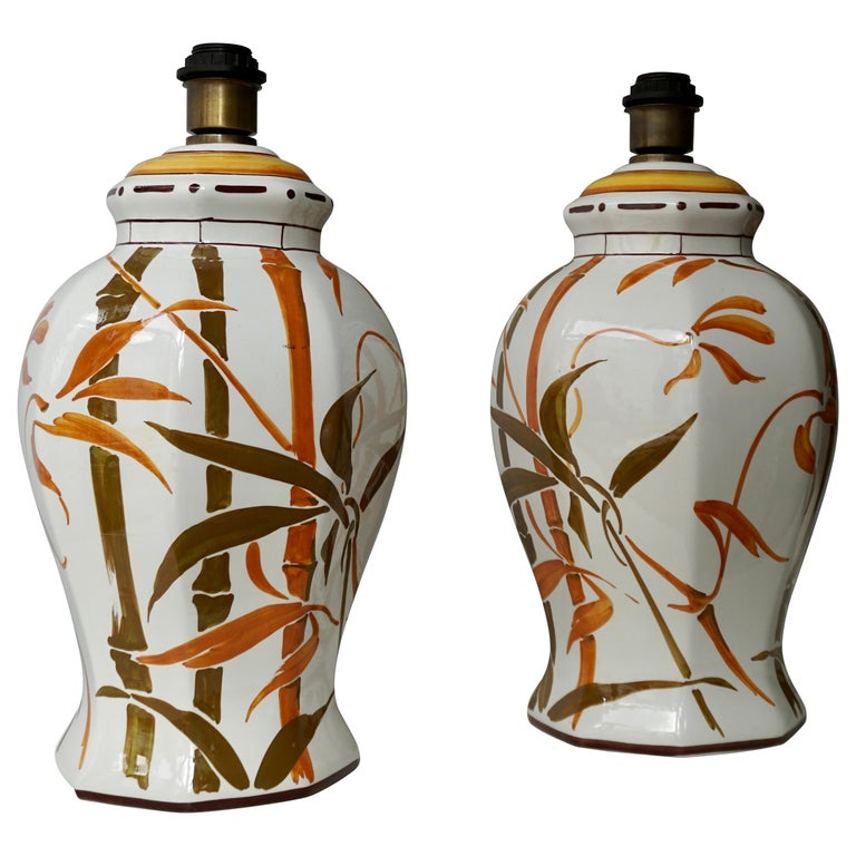 Set of Two Exceptional Mid-Century Modern Ceramic Bamboo Table Lamps, Italy For Sale