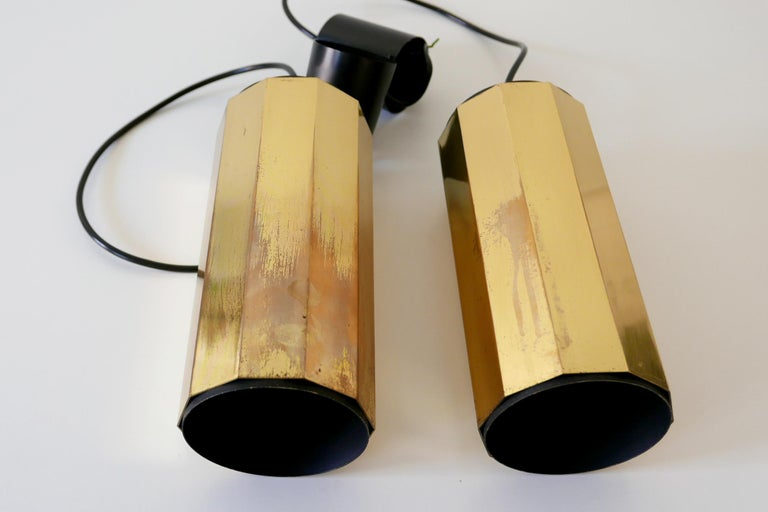 Set of Two Exceptional Mid-Century Modern Decagonal Brass Pendant Lamps, 1960s For Sale 9