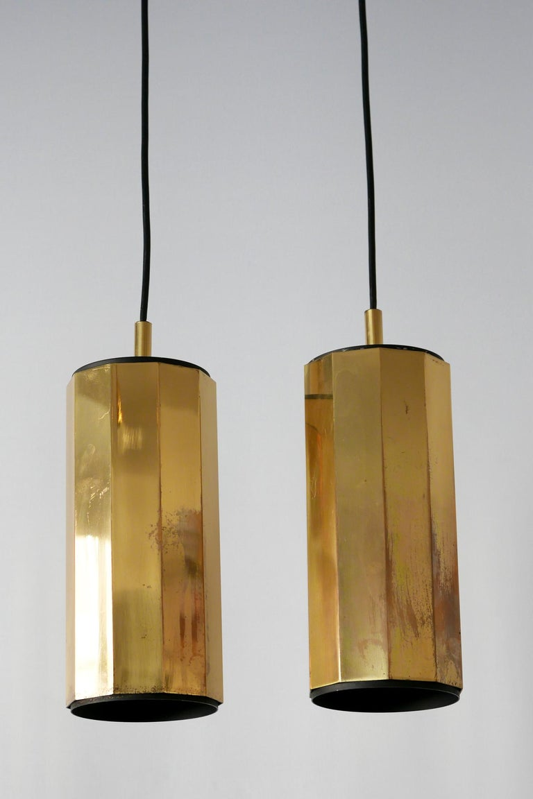 German Set of Two Exceptional Mid-Century Modern Decagonal Brass Pendant Lamps, 1960s For Sale