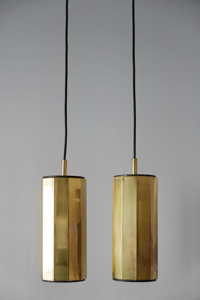 Set of Two Exceptional Mid-Century Modern Decagonal Brass Pendant Lamps, 1960s In Good Condition For Sale In Munich, DE