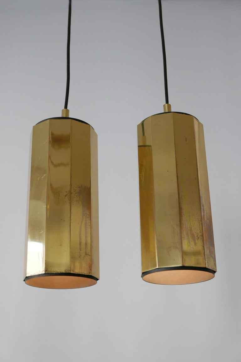 Set of Two Exceptional Mid-Century Modern Decagonal Brass Pendant Lamps, 1960s For Sale 2