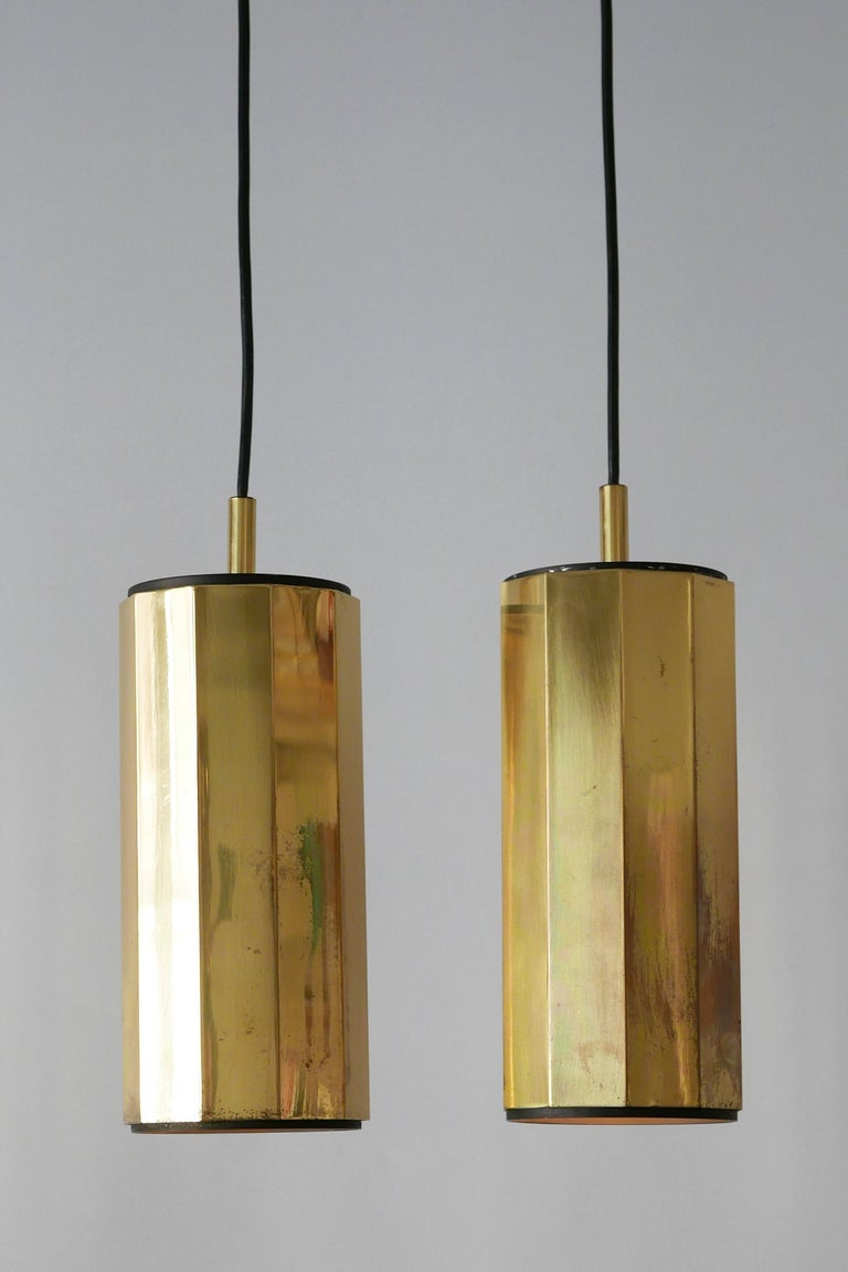 Set of Two Exceptional Mid-Century Modern Decagonal Brass Pendant Lamps, 1960s For Sale 3