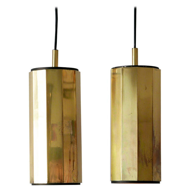Set of Two Exceptional Mid-Century Modern Decagonal Brass Pendant Lamps, 1960s For Sale