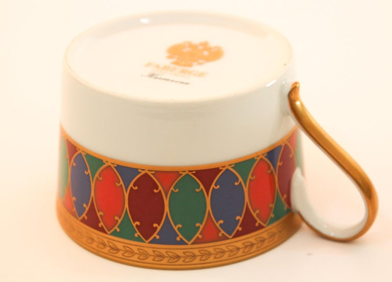 Set of Two Faberge Porcelain Tea, Coffee Cups In Good Condition For Sale In North Hollywood, CA