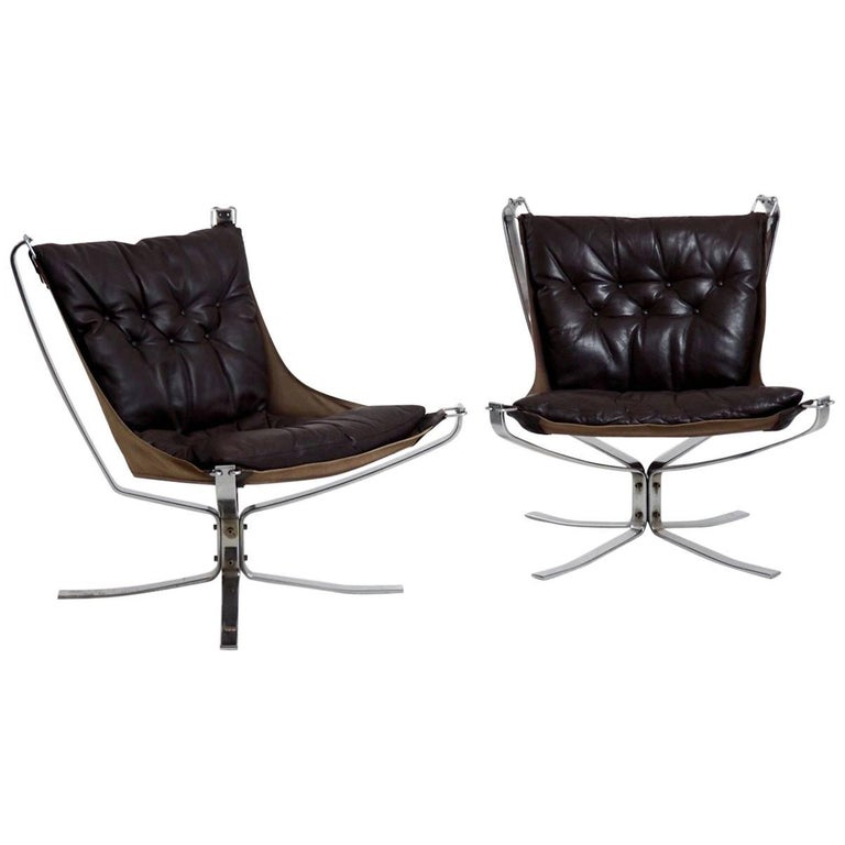 Set of Two Falcon Chairs by Sigurd Resell for Vatne Møbler in Sweden For Sale