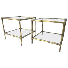 Set of Two Faux Bamboo Brushed Brass and Glass Side Tables or End Tables