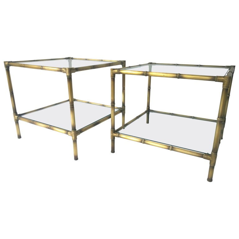Set of Two Faux Bamboo Brushed Brass and Glass Side Tables or End Tables For Sale