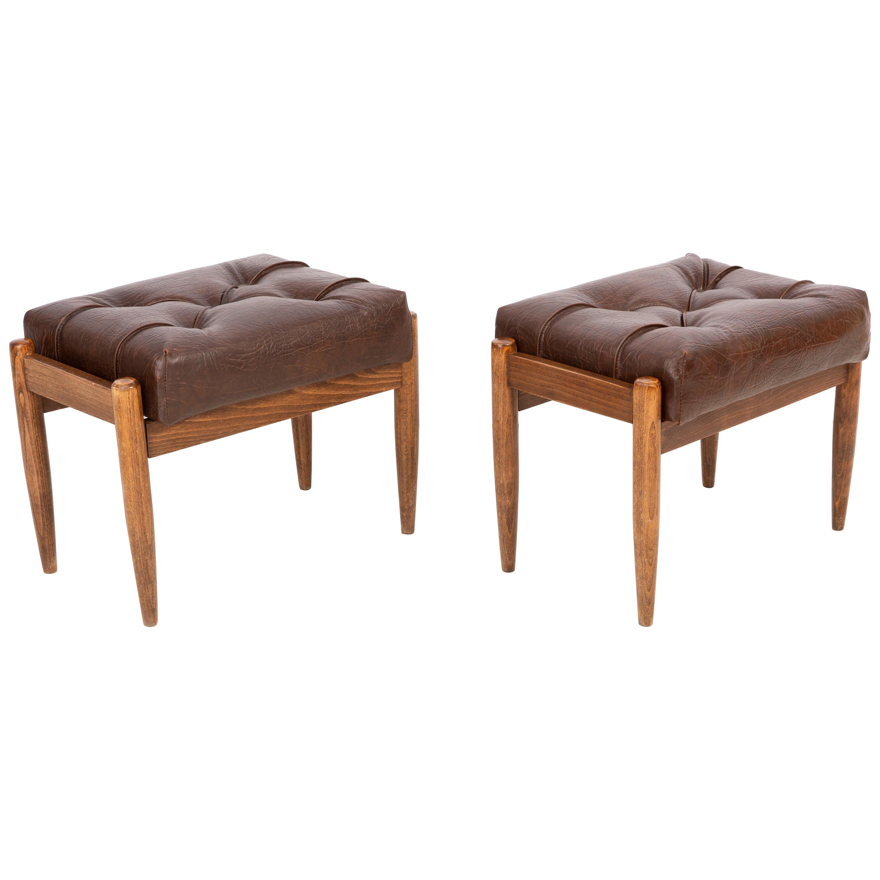Set of Two Faux Leather Brown Vintage Stools, Edmund Homa, 1960s