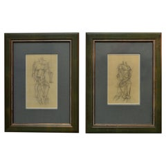 Set of Female Studies of Early 20th Century Life Drawings in Cubist Style