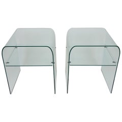 Set of Two FIAM Italia Clear Glass End Tables or Nightstands with Shelves
