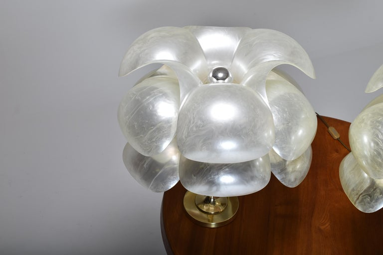 Mid-Century Modern Set of Two Floral Lamps by Maison Rougier, 1970, Canada For Sale