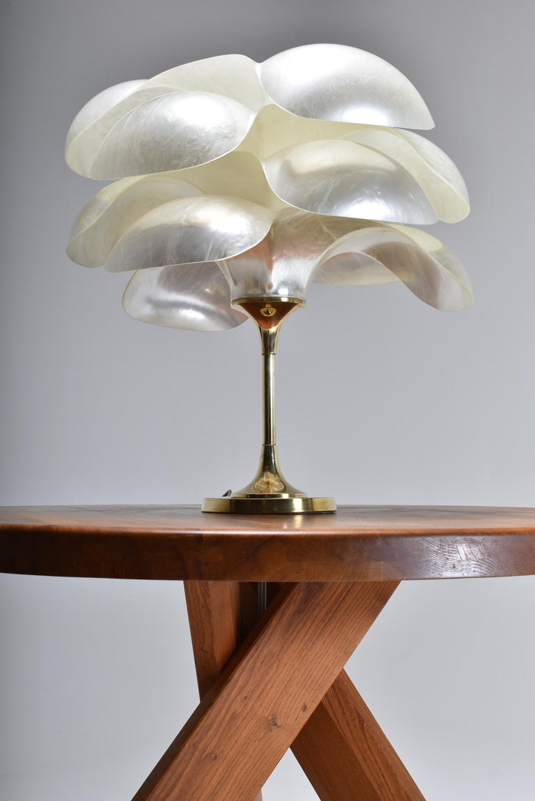 Canadian Set of Two Floral Lamps by Maison Rougier, 1970, Canada For Sale