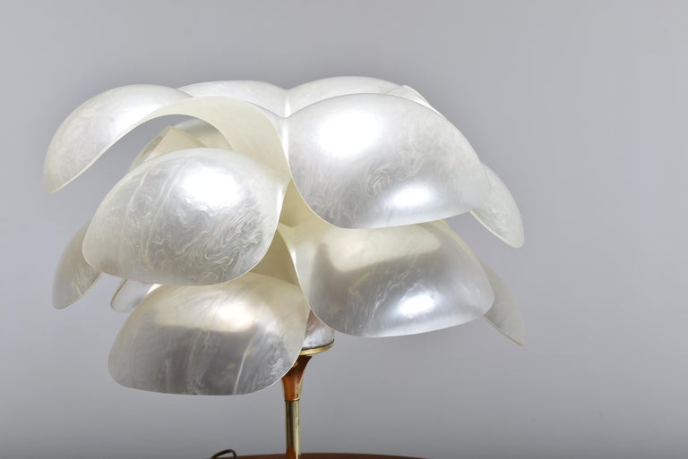 Polished Set of Two Floral Lamps by Maison Rougier, 1970, Canada For Sale