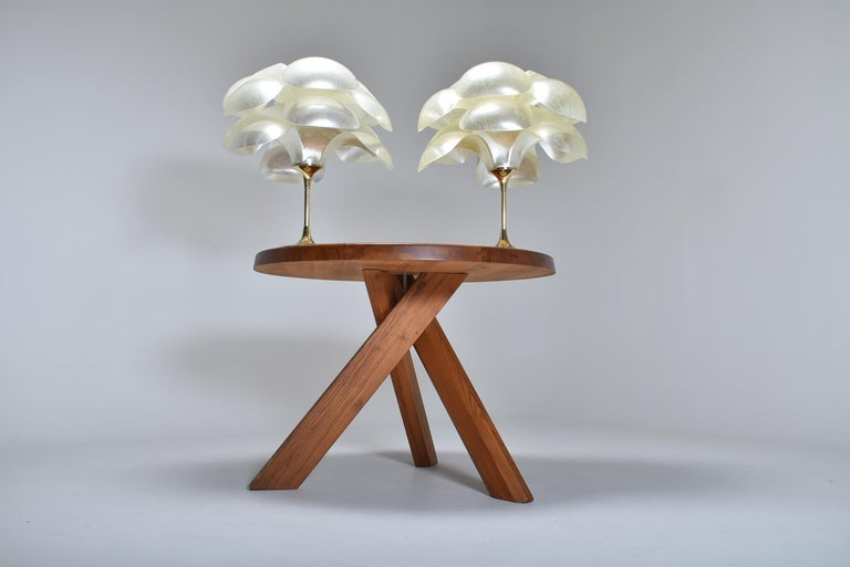 Brass Set of Two Floral Lamps by Maison Rougier, 1970, Canada For Sale