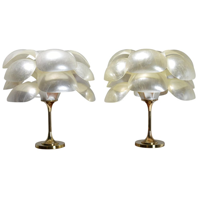 Set of Two Floral Lamps by Maison Rougier, 1970, Canada For Sale