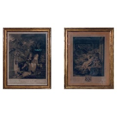 Set of Two Framed French Engraved Art Print