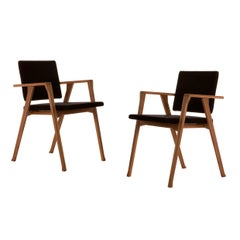 Set of Two Franco Albini Luisa Chairs, Wood and Fabric by Cassina
