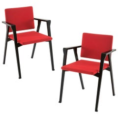 Set of Two Franco Albini Luisa Chairs, Wood and Fabric