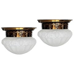 Set of Two French Art Deco Brass Frosted Art Glass Flush Mounts, Ceiling Lights