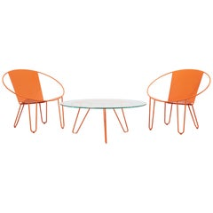 Set of Two Gary Snyder Lounge Chairs and Coffee Table in Burnt Orange, US, 2020