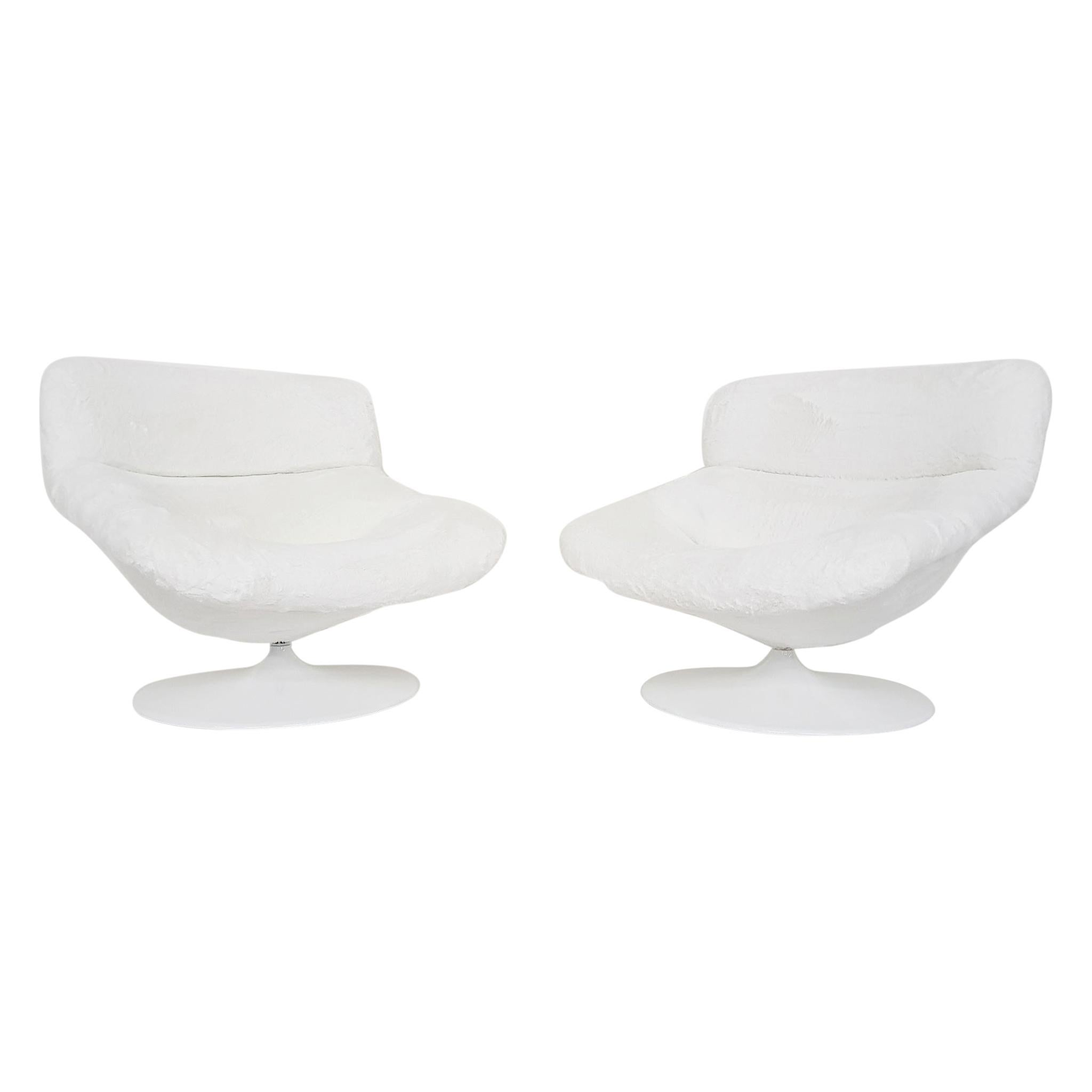 Set of Two Geoffrey Harcourt for Artifort F518 Swivel, Faux Fur, Lounge Chairs