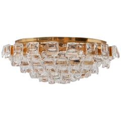 Gilt and Crystal Palwa Flush Mount Chandelier, Germany