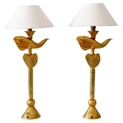 Set of Two Gilt Bronze Dove Table Lamps by Pierre Casenove for Fondica France