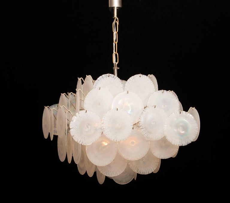 Set of Two Gino Vistosi Chandeliers with White / Pearl Murano Crystal Discs For Sale 8