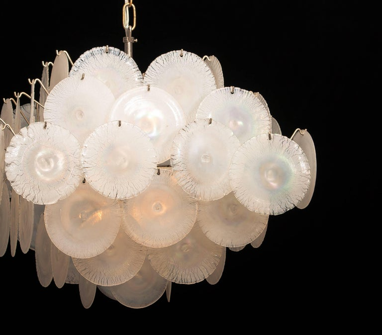 Set of Two Gino Vistosi Chandeliers with White / Pearl Murano Crystal Discs For Sale 13