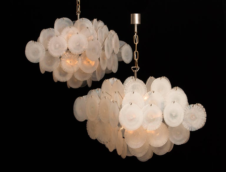 Mid-Century Modern Set of Two Gino Vistosi Chandeliers with White / Pearl Murano Crystal Discs For Sale