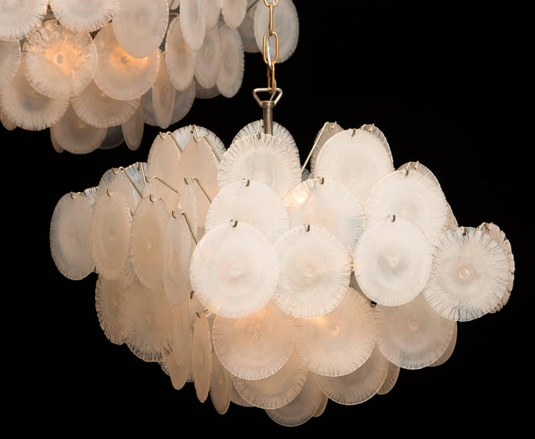 Italian Set of Two Gino Vistosi Chandeliers with White / Pearl Murano Crystal Discs For Sale