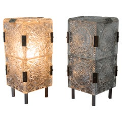 Set of Two Glass Table Lamps by Kamenicky Senov, 1970s