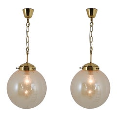 Set of Two Globe Pendant Lights, Brass and Smoked Glass, 1970s