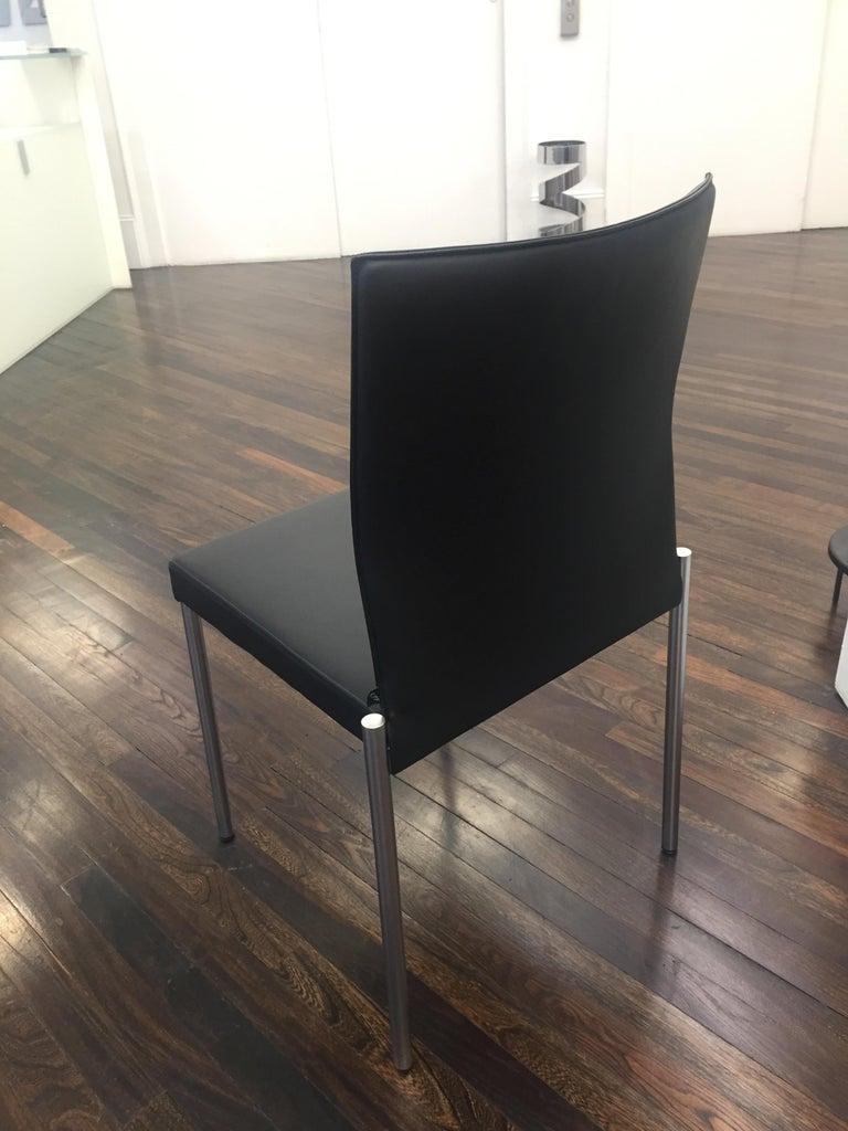 Modern Set of Two KFF Glooh Black Vinyl Side Chairs For Sale