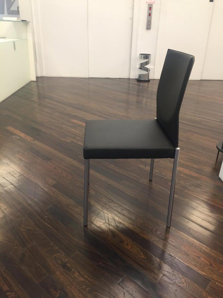 German Set of Two KFF Glooh Black Vinyl Side Chairs For Sale
