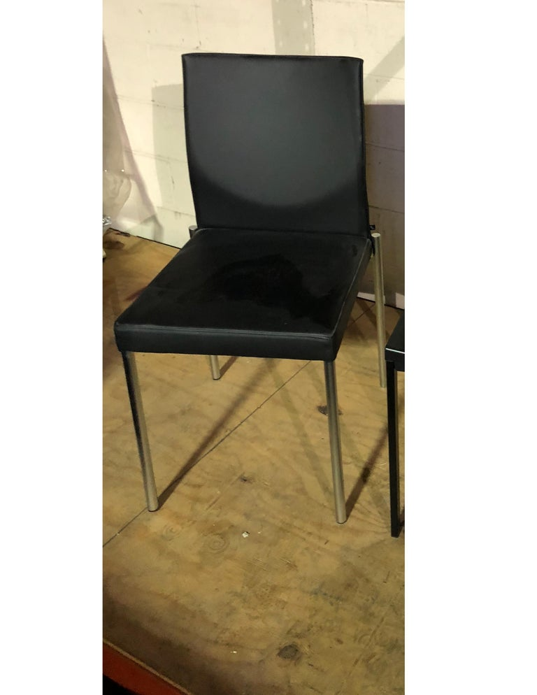 Contemporary Set of Two KFF Glooh Black Vinyl Side Chairs For Sale