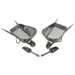 Set of Two Godinger Silverplate Wheelbarrows