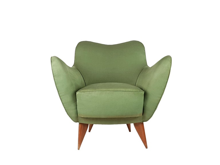 Set of Two Green Fabric and Wood 1950s Perla Armchairs with Sofa by G. Veronesi For Sale 6