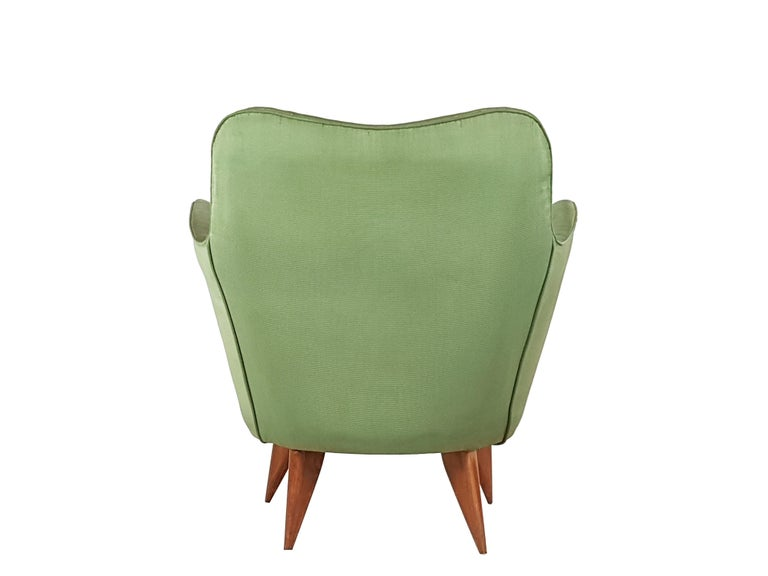 Set of Two Green Fabric and Wood 1950s Perla Armchairs with Sofa by G. Veronesi For Sale 8