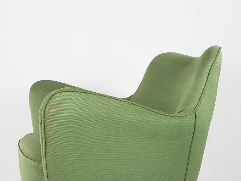 Set of Two Green Fabric and Wood 1950s Perla Armchairs with Sofa by G. Veronesi For Sale 11