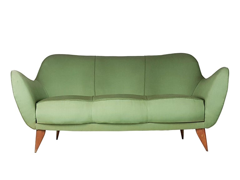 Mid-Century Modern Set of Two Green Fabric and Wood 1950s Perla Armchairs with Sofa by G. Veronesi For Sale