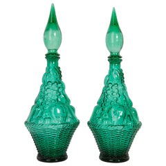 Set of Two Green Glass Genie Decanters with Stoppers, 20th Century, Italy, 1960s