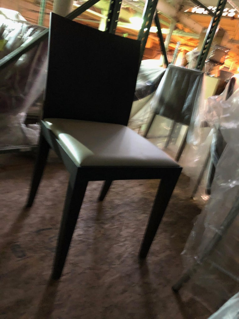 Contemporary Set of Two Grey Oak Frame Taupe Leather Arco Flex Chairs For Sale