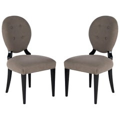 Set of Two Grey Sophia Wood and Fabric Chairs