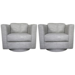 Set of Two Grey Upholstered Tuxedo Swivel Chairs by Harvey Probber
