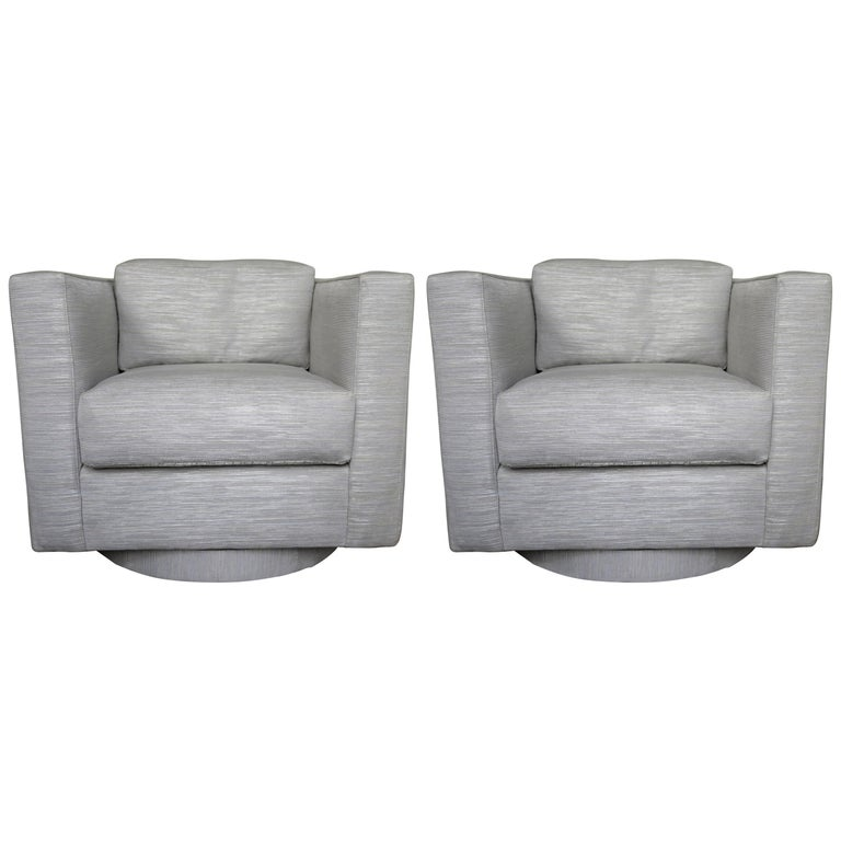 Set of Two Grey Upholstered Tuxedo Swivel Chairs by Harvey Probber For Sale