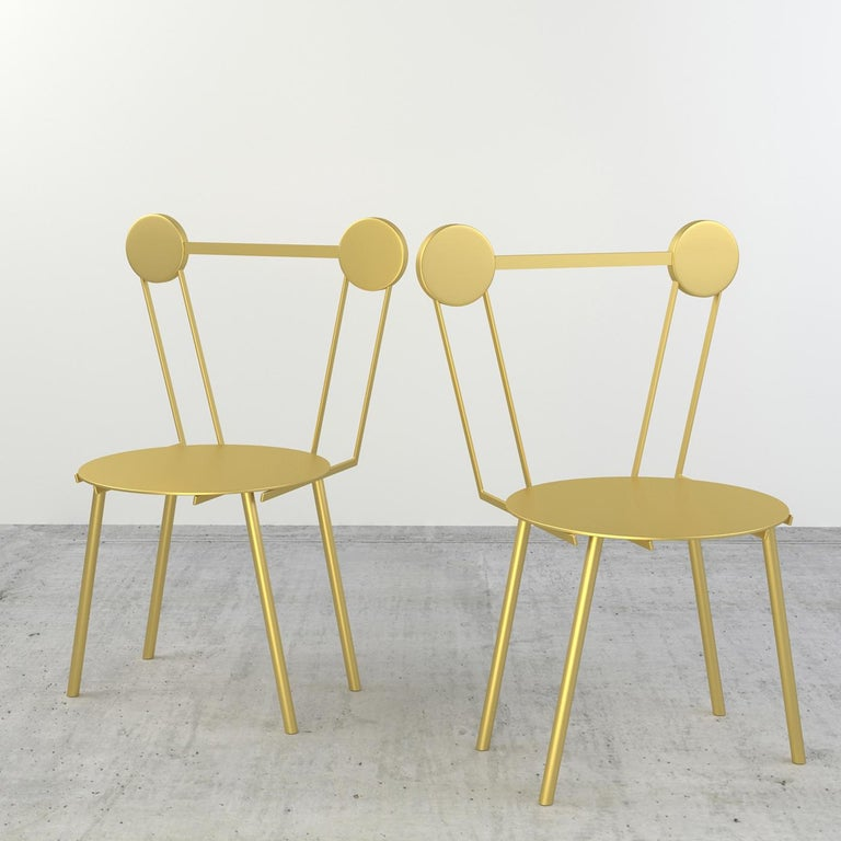 Italian Set of Two Haly Gold Chair by Chapel Petrassi For Sale